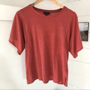 "J.Crew Square-Sleeve T-Shirt in ""Old Red"" XS"